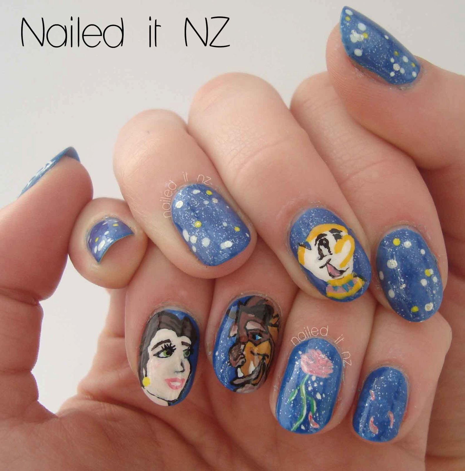 Disney Nail Art: Disney Nail Art #2: Beauty And The Beast