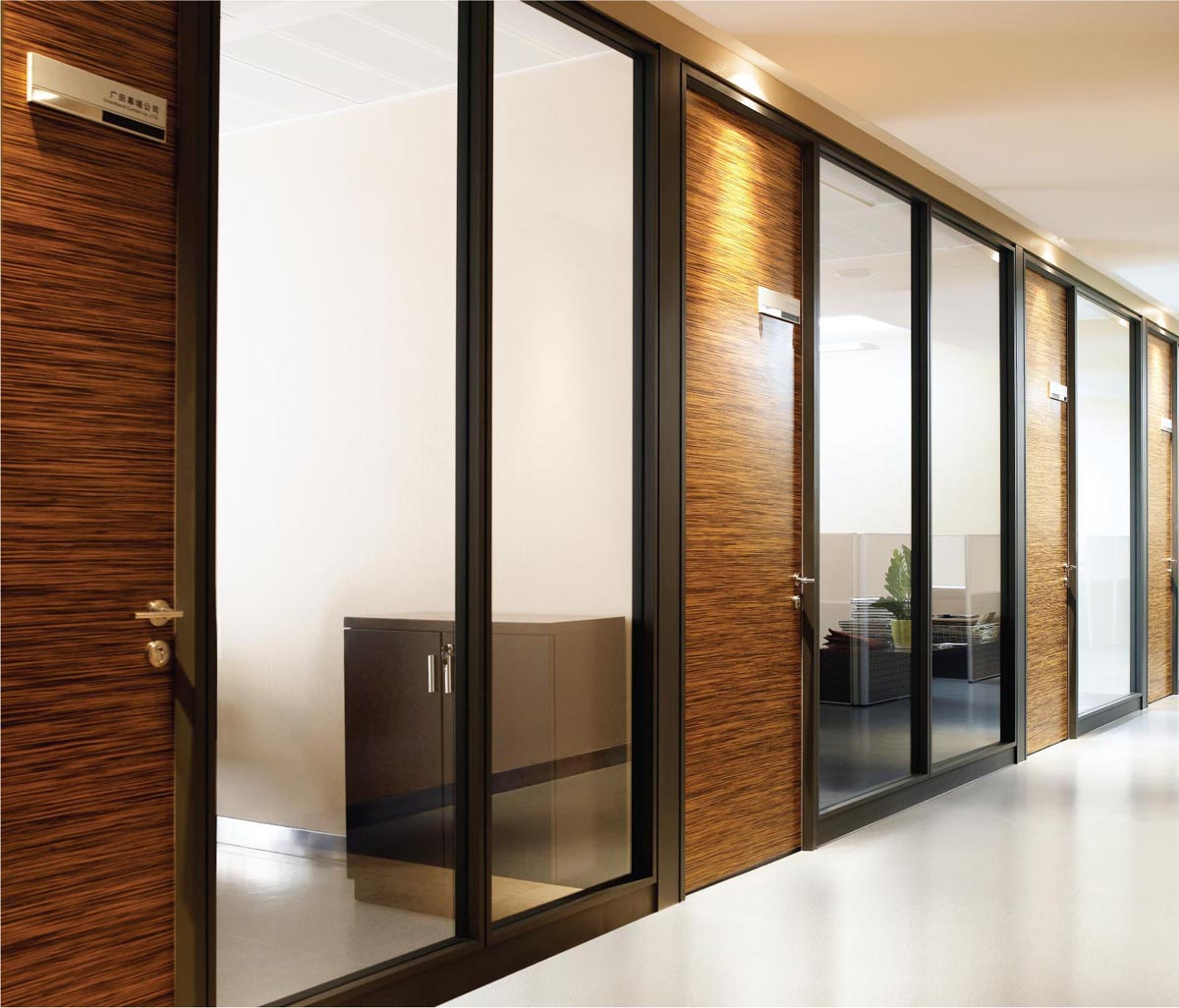 Foundation dezin decor designer wall partition - Wooden glass partition design ...