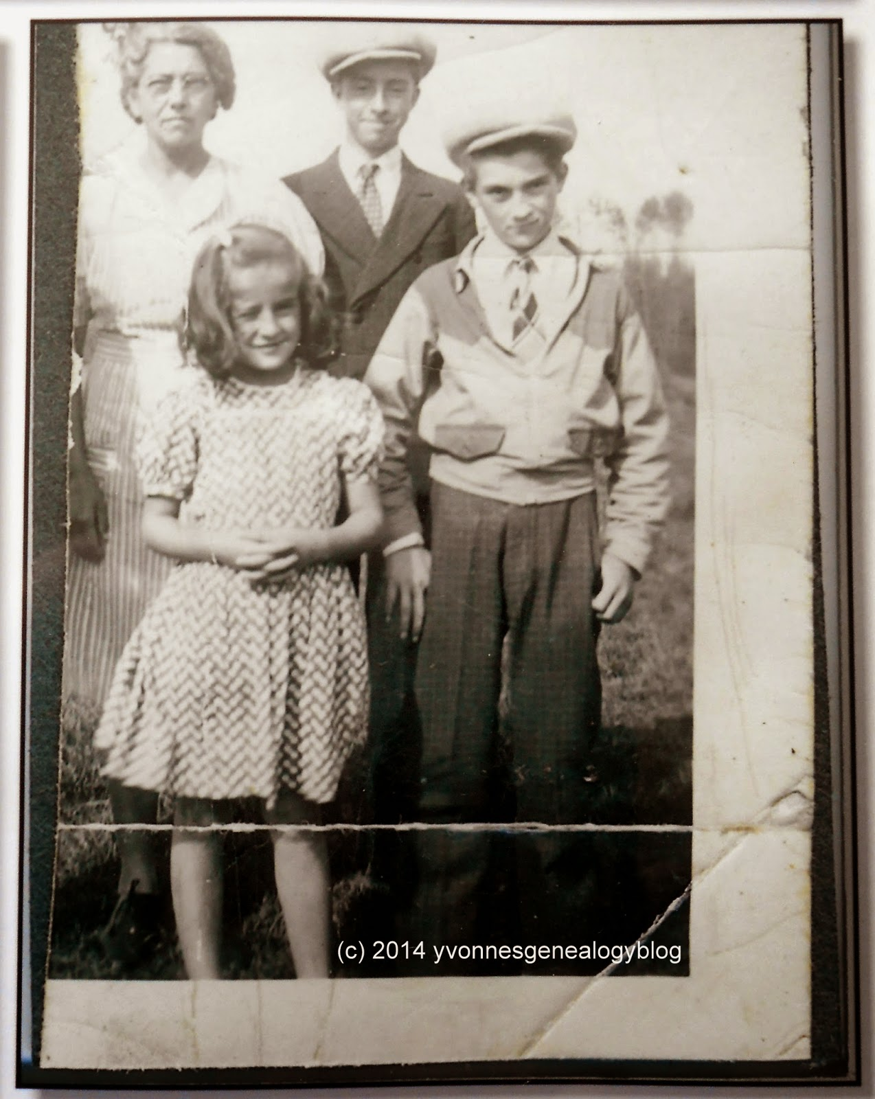 Maurice with his mother and sister and brother