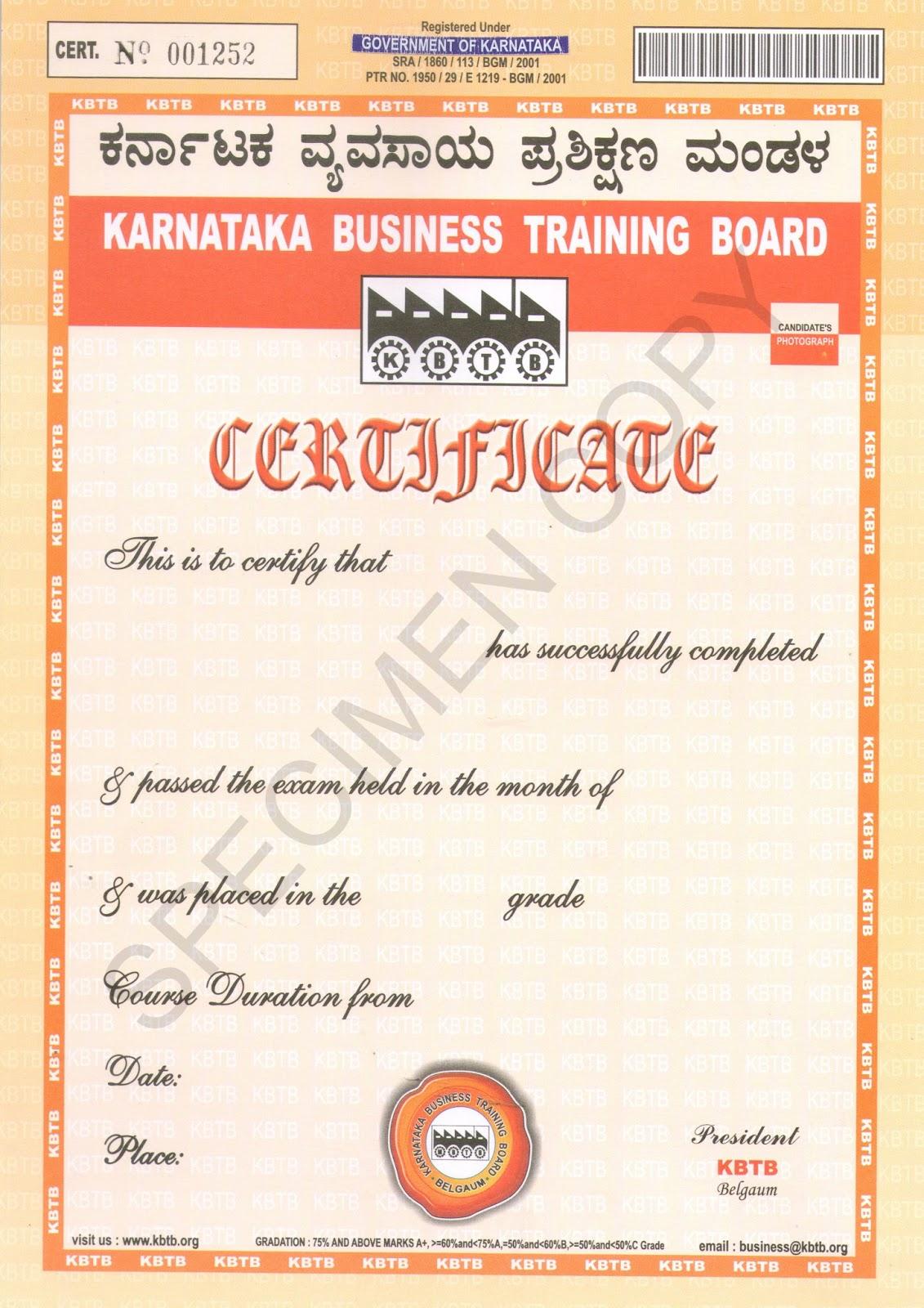 Karnataka business training board kbtb sample certificates kbtb sample certificates yelopaper Choice Image