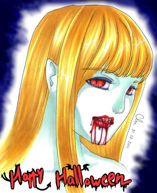Fille blonde à la bouche sanguinolente