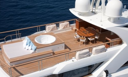 photos of jacuzzi of 5000Fly la pellegrina super yacht ship boat built by couach shipyards in france