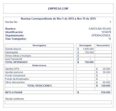 Formato De Desprendible De Pago De Nomina En Excel