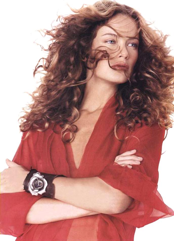 Carolyn Murphy wearing Alberta Ferretti blouse in Elle US February 2002