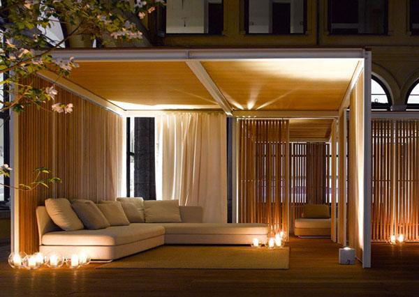 Impresionante decoraci n para exteriores con muebles y - Luces para plantas de interior ...