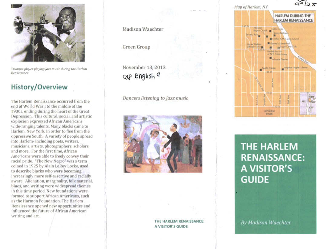 essays during the harlem renaissance During the early 20th century, african-american poets, musicians, actors, artists and intellectuals moved to harlem in new york city and brought new ideas that.
