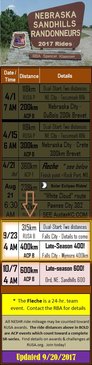 NESHR Ride Schedule