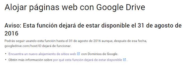 Google Drive dejará de funcionar como hosting gratuito para html en agosto de 2016