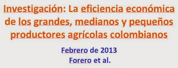 La eficiencia económica de los grandes, medianos y pequeños productores agrícolas colombianos