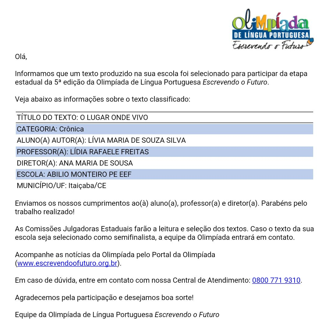 Olimpíada da Língua Portuguesa - Escrevendo o Futuro.