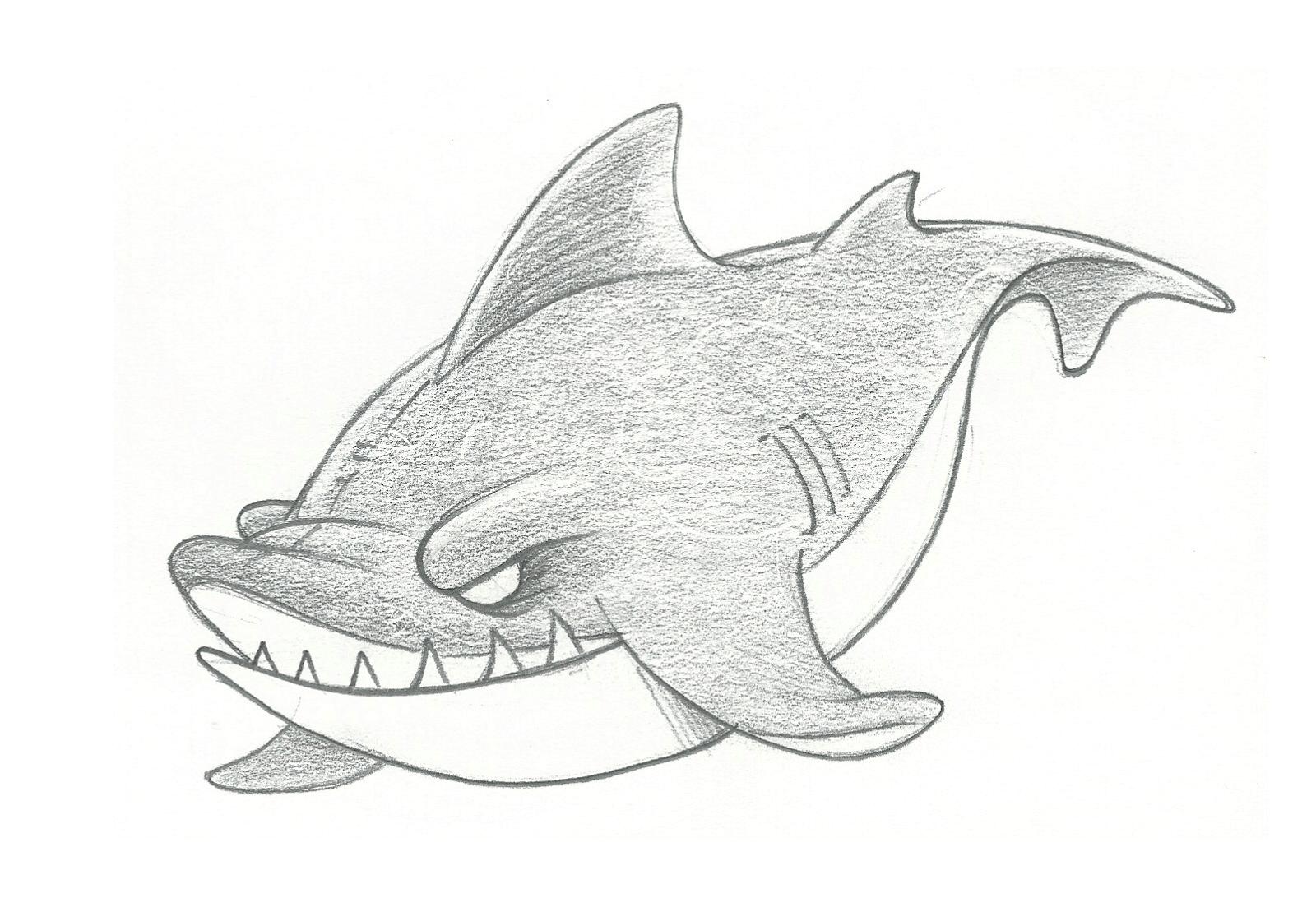 Cool Shark Drawing In Pencil Old Car Drawings Sketch