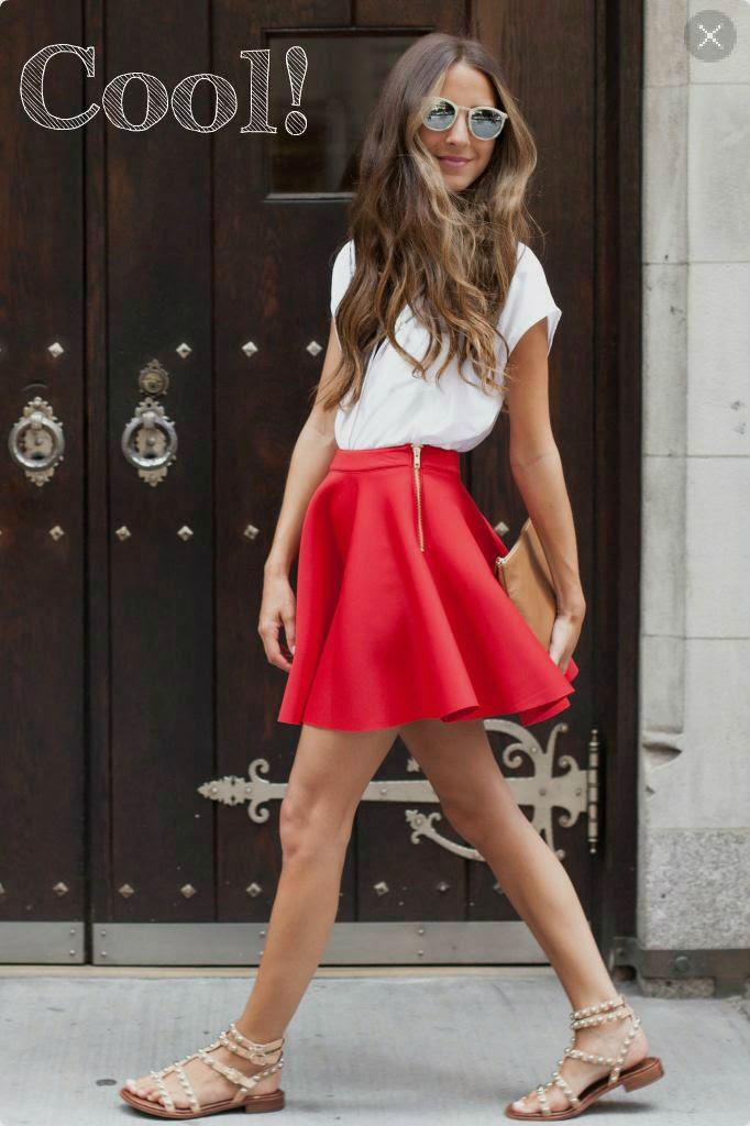 Como usar saia neoprene-saia vermelha-saia rodada-saia evasê-camisa branca- Saia Neoprene-modelo de saia-modelos de saias-saias da moda-saia de neoprene-saias neoprene-saias femininas-saias de neoprene-saia preta-saia rodada-saia-sino-saias curtas-saia curta-roupas-femininas-moda verão 2015-neoprene-looks em neoprene-look com saia-Neoprene Skirt-sandália rasterinha