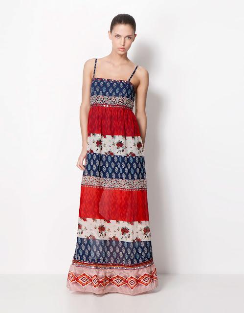 etnik desenli, renkli askılı elbise, uzun elbise, maksi elbise