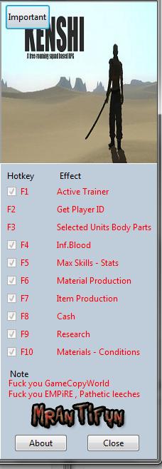 Kenshi Trainer +10 V0.62  MrAntiFun