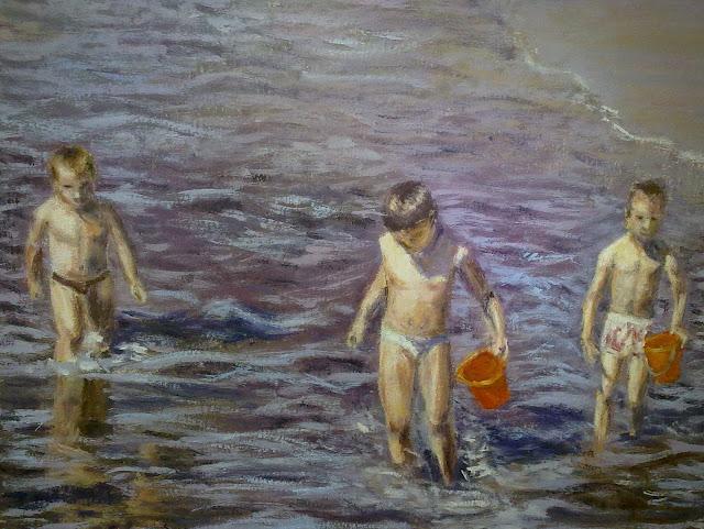 cuadro niños al oleo