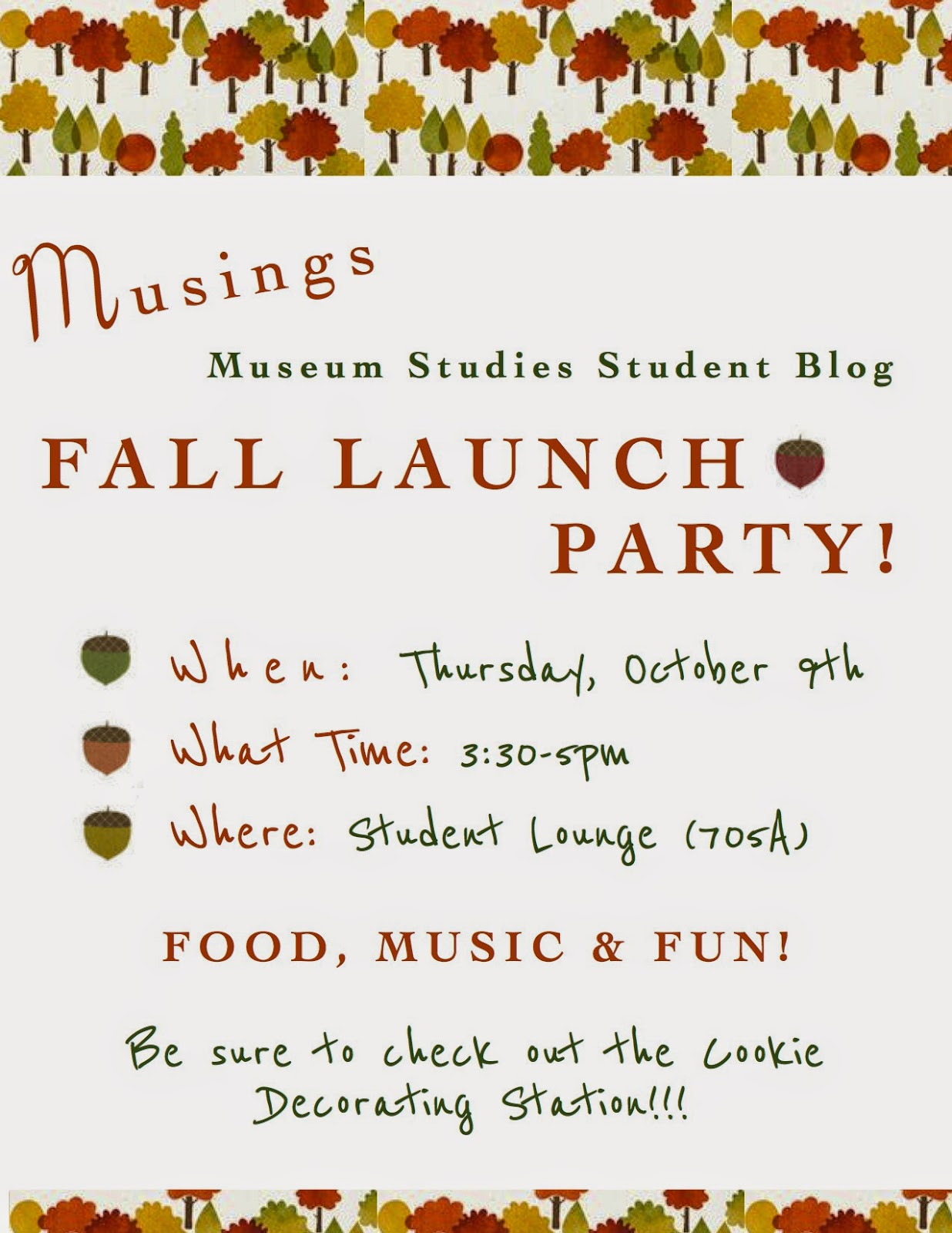 Musings Fall Launch Party Poster.