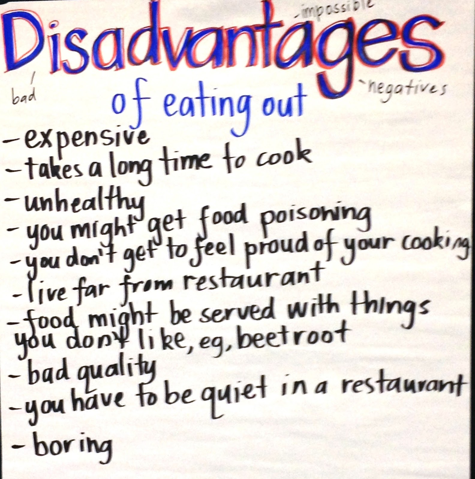 disadvantages of eating out