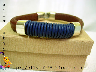 cuero regaliz Pulsera+marron+y+azul+regaliz