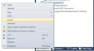 Click Install on windows service setup project