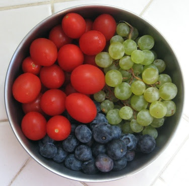 grapes, grape tomatoes, blueberries