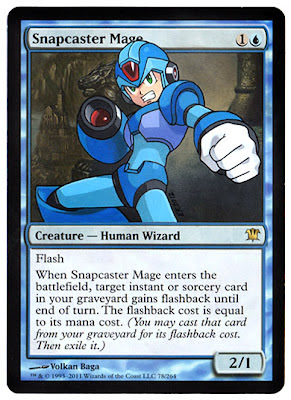 Snapcaster Mage Megaman Eric Klug alters Magic the gathering card art altered art gallery Eric Klug alters Eric Klug MTG Snapcaster Mage alter Snapcaster Mage MTG Megaman snapcaster mage altered art