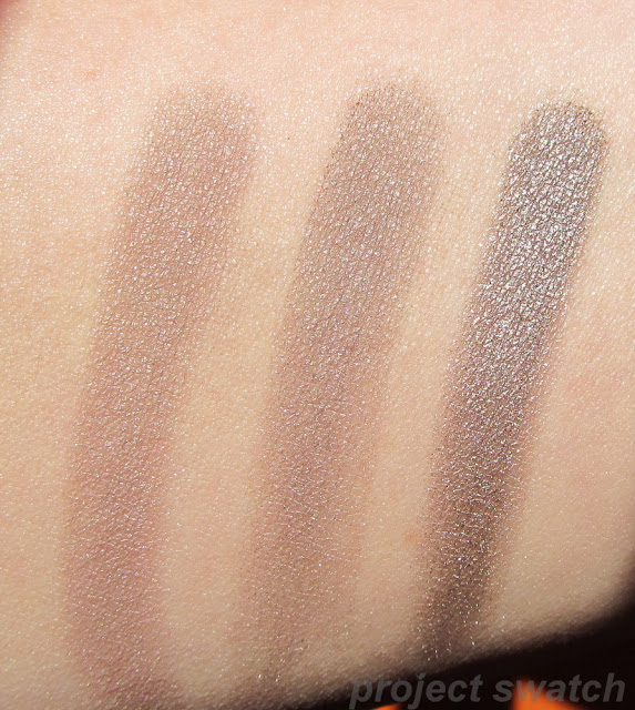 swatches - NARS Lhasa, MAC Moth Brown, Urban Decay Mushroom - sunlight