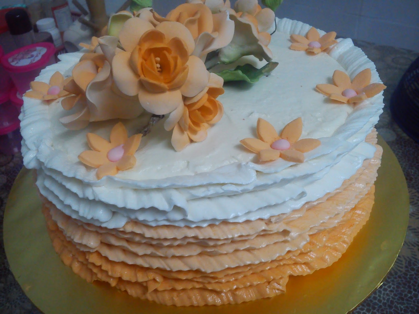 azreen zunairah ruffle ombre cake first time buat corak ropol