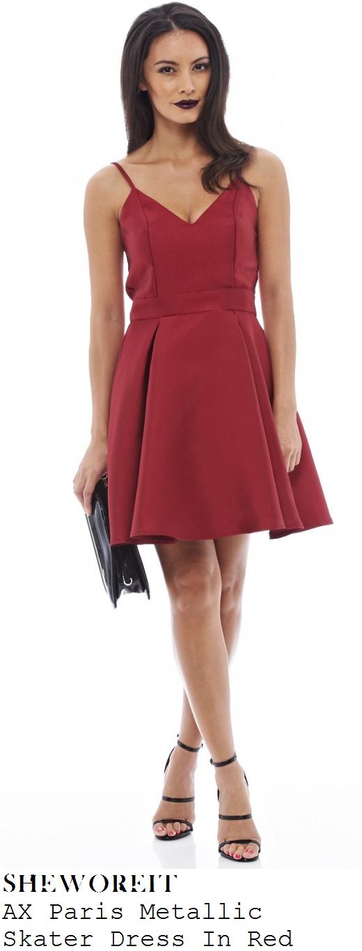 georgia-kousoulou-red-sleeveless-pleated-skater-dress-halloween