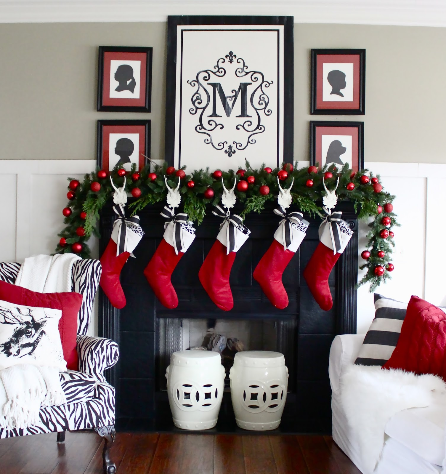 Black And White Christmas Decoration Ideas: The Yellow Cape Cod: Christmas Home Tour 2014
