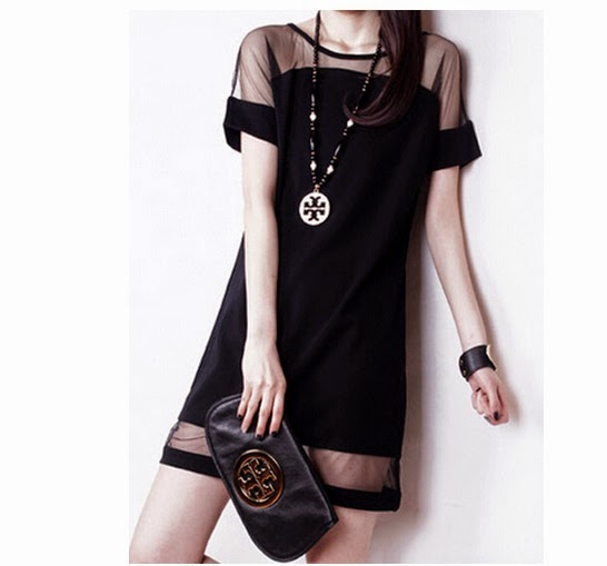 Black Sheer Panel Shift Dress, only for 13 $
