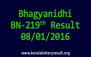 Bhagyanidhi BN 219 Lottery Result 8-1-2016
