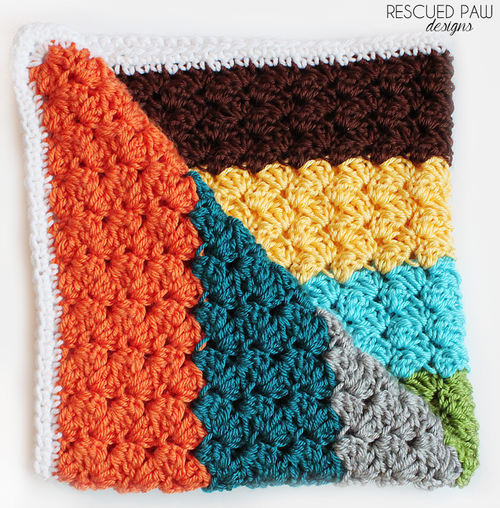 free crochet pattern color block blanket