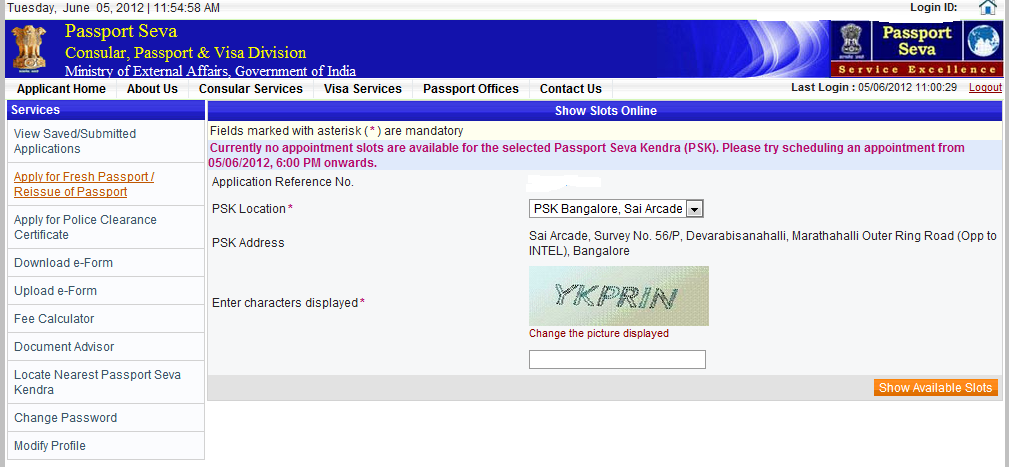 No appointment slots are opened for the selected passport seva kendra