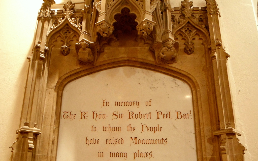 Sir Robert Peel Family monument in St Peter's in Drayton Bassett