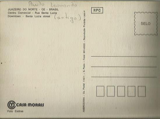 Verso de postal antigo de Juazeiro do Norte.