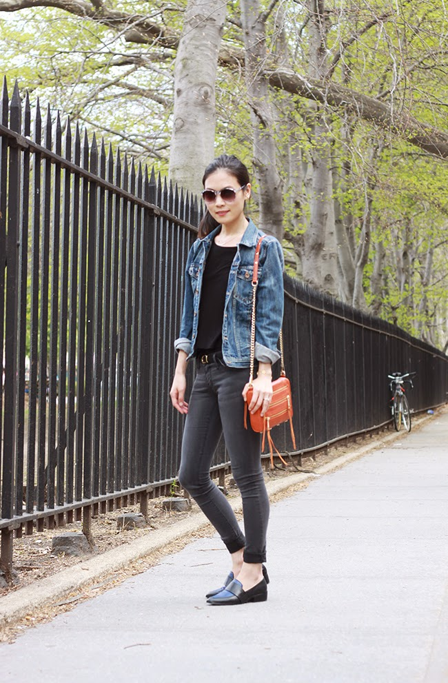 rebecca minkoff mini 5zip, jean jacket, orange bag outfit, blue loafers, blogger street style, new york fashion blogger, ootd, steve madden shoes, what to wear with jean jacket, how to wear gray jeans, jeans and loafers