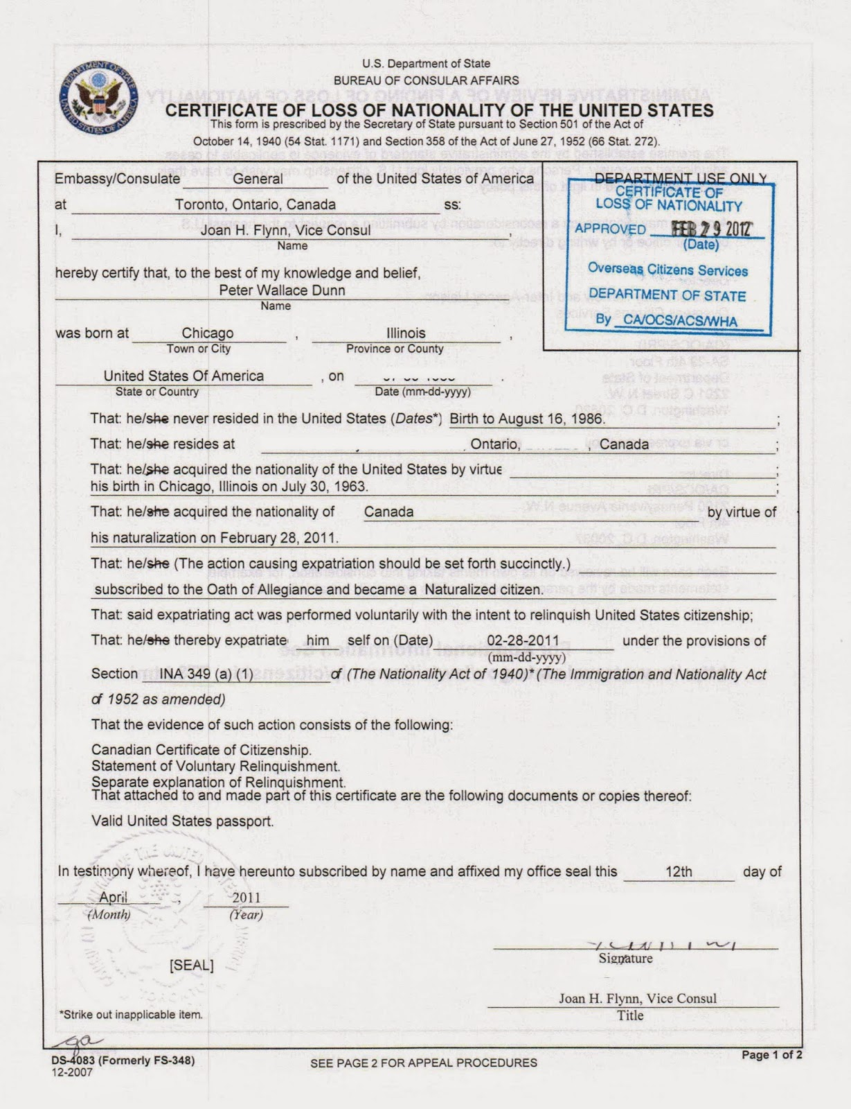 Nationality Certificate Form