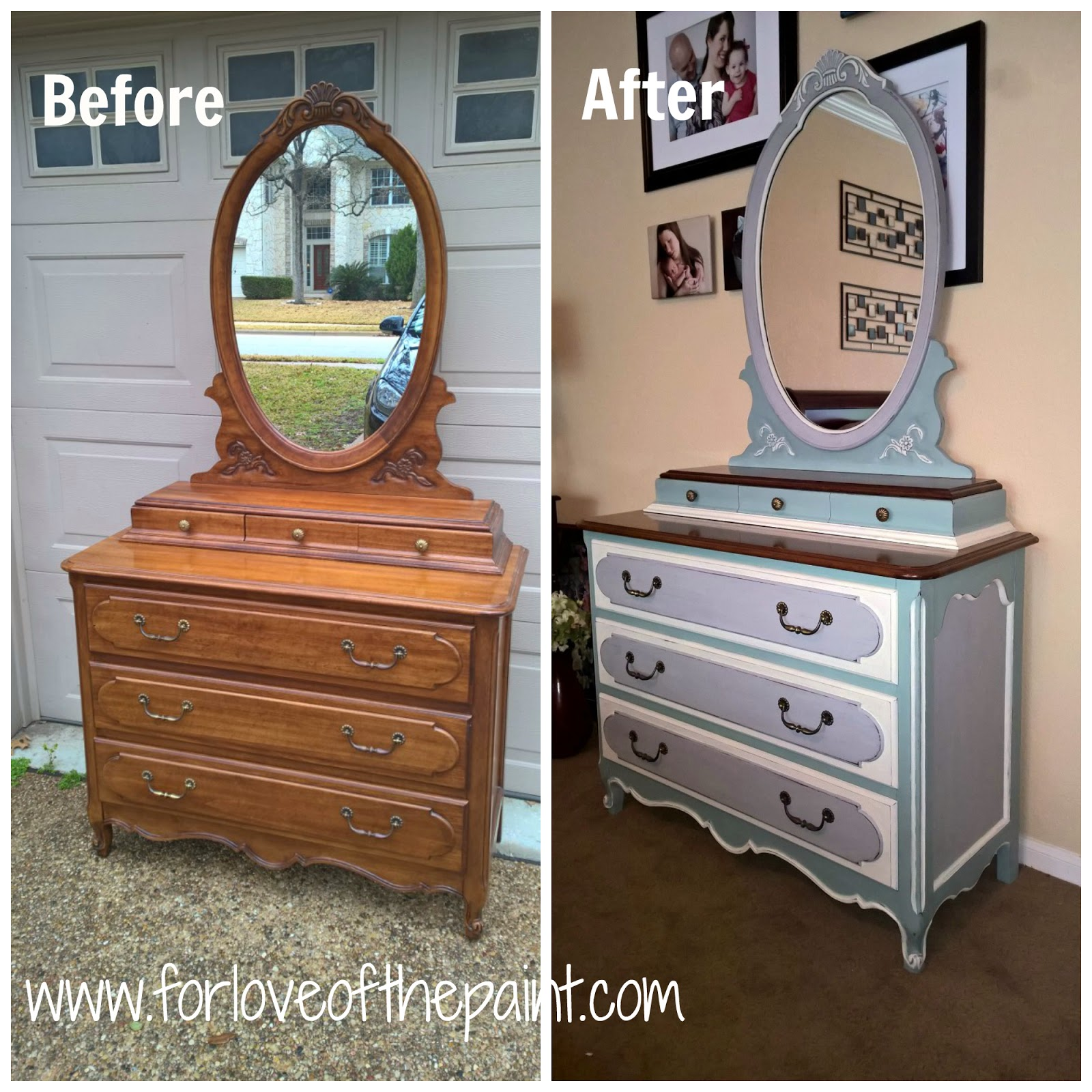 Paris vanity mirror - I Put Paris Grey Over The Whole Shebang Then Dry Brushed Duck Egg Over The Body And Used Old White For The Trim I Distressed The High Points And Around