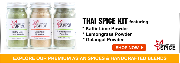 buy lemongrass powder, kaffir lime leaf powder and galangal powder available at season with spice asian spice shop