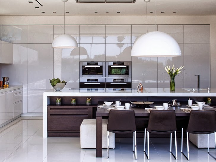 White kitchen in Perfect modern mansion in Beverly Hills