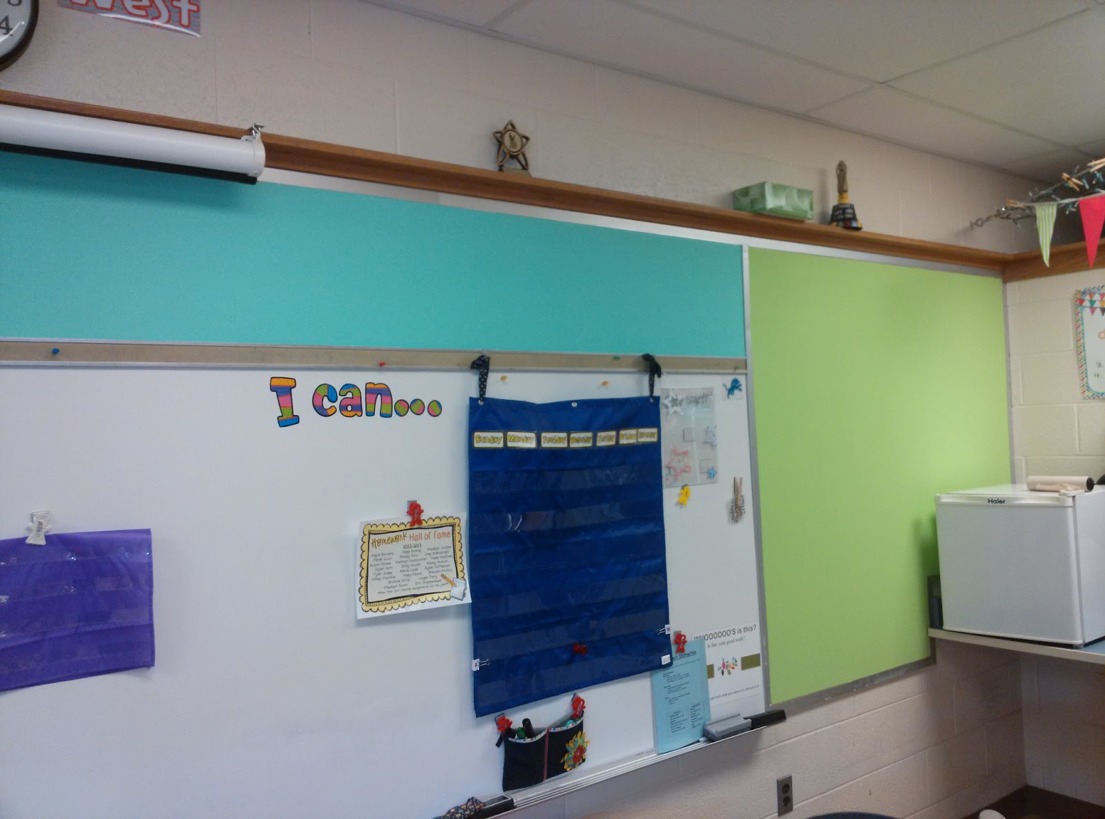 Bunting books and bright ideas i painted my bulletin for Painted cork board ideas