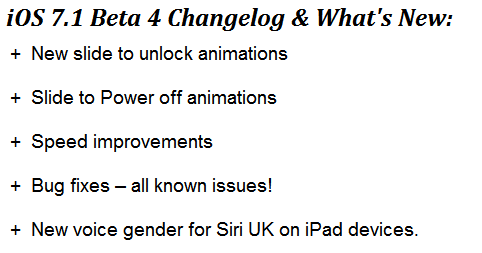Apple iOS 7.1 Beta 4 Changelog and Whats New