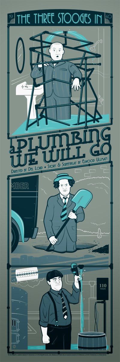 The Three Stooges: A Plumbing We Will Go Screen Print by Dave Perillo
