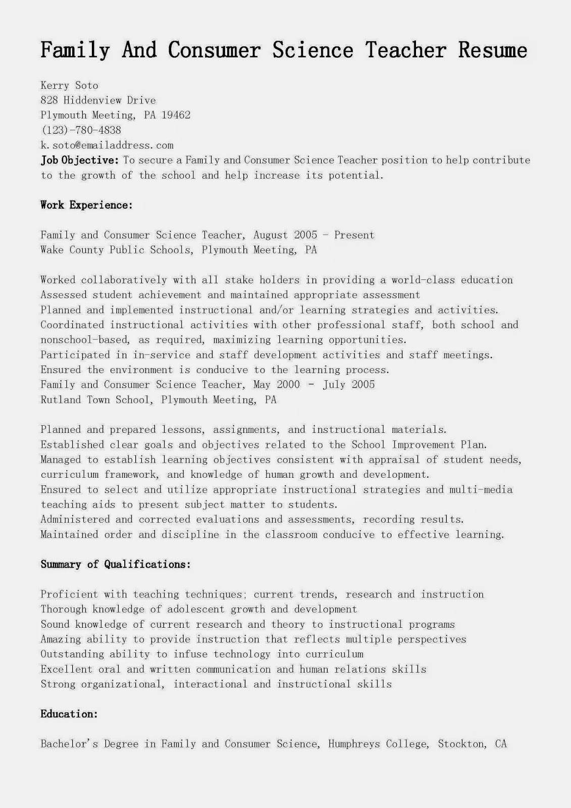 resume samples  family and consumer science teacher resume