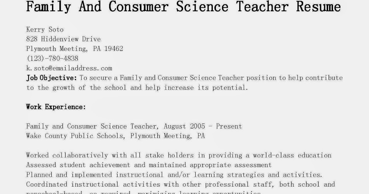 Science Teacher Resume Examples