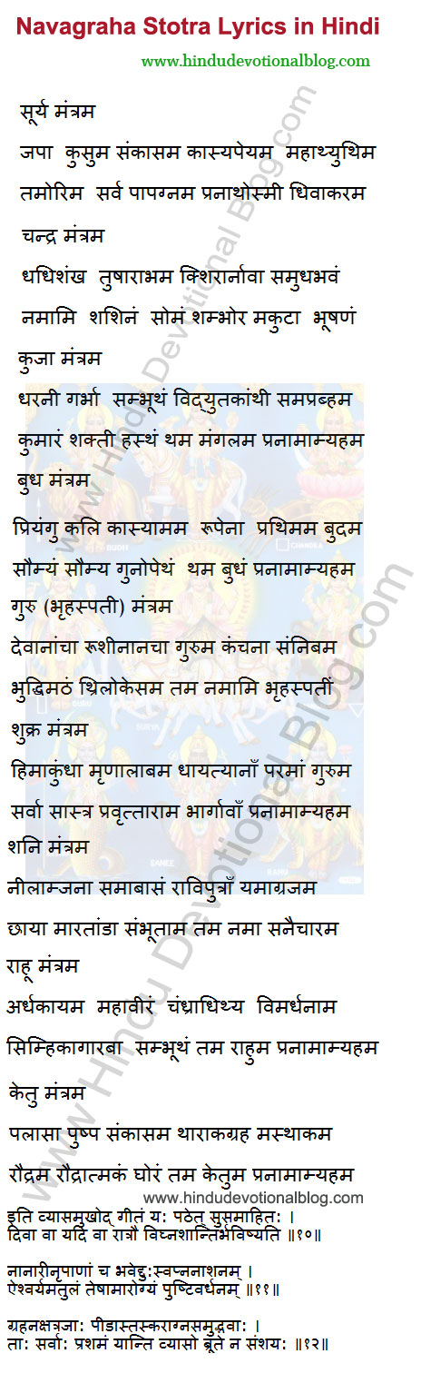 Picture of Navagraha Mantra Lyrics in Hindi Language