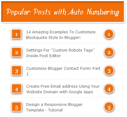 Popular Post widget with auto numbering