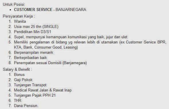 lowongan kerja pt bfi finance indonesia banjarnegara agustus 2014