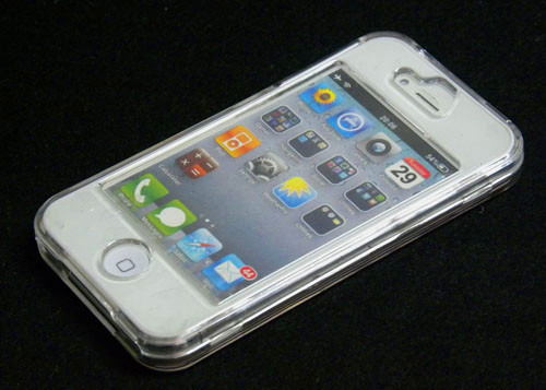 Plastic Clear front +back hard case cover for Apple iphone 4G 4S