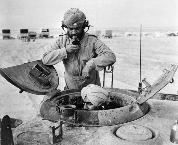 WW2 Sikh soldiers in tank in Libya